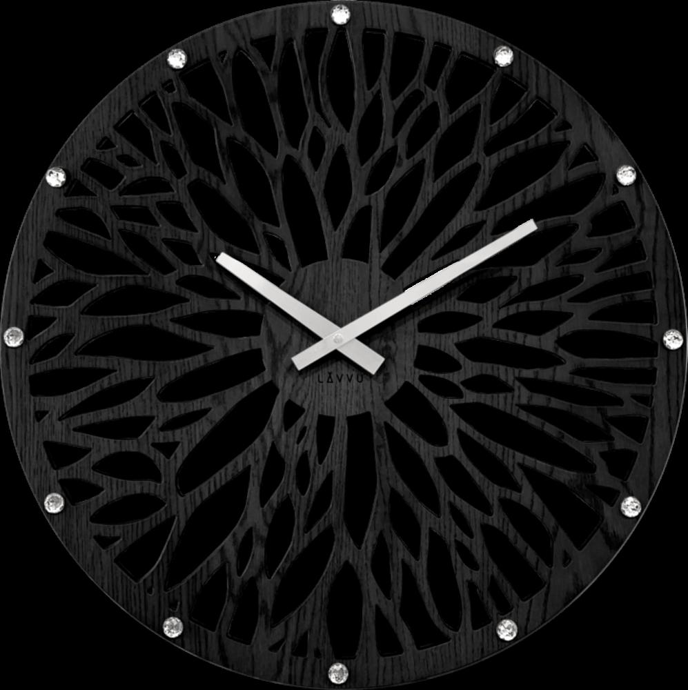 LAVVU Impozantní černé dřevěné hodiny LAVVU WOOD LCT1182