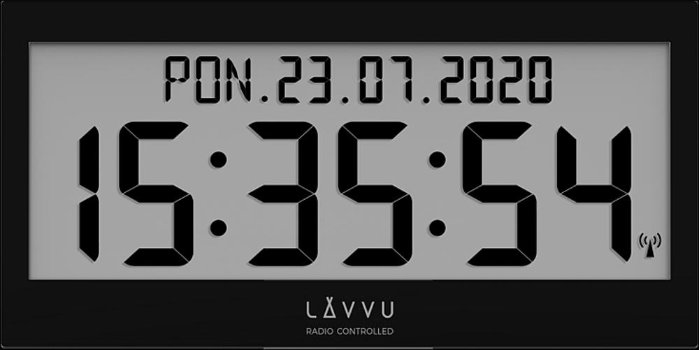 LAVVU Černé digitální hodiny s češtinou LAVVU MODIG řízené rádiovým signálem LCX0011