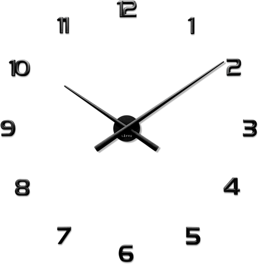 LAVVU Černé nalepovací hodiny LAVVU 3D STICKER Black Numerals LCT1170