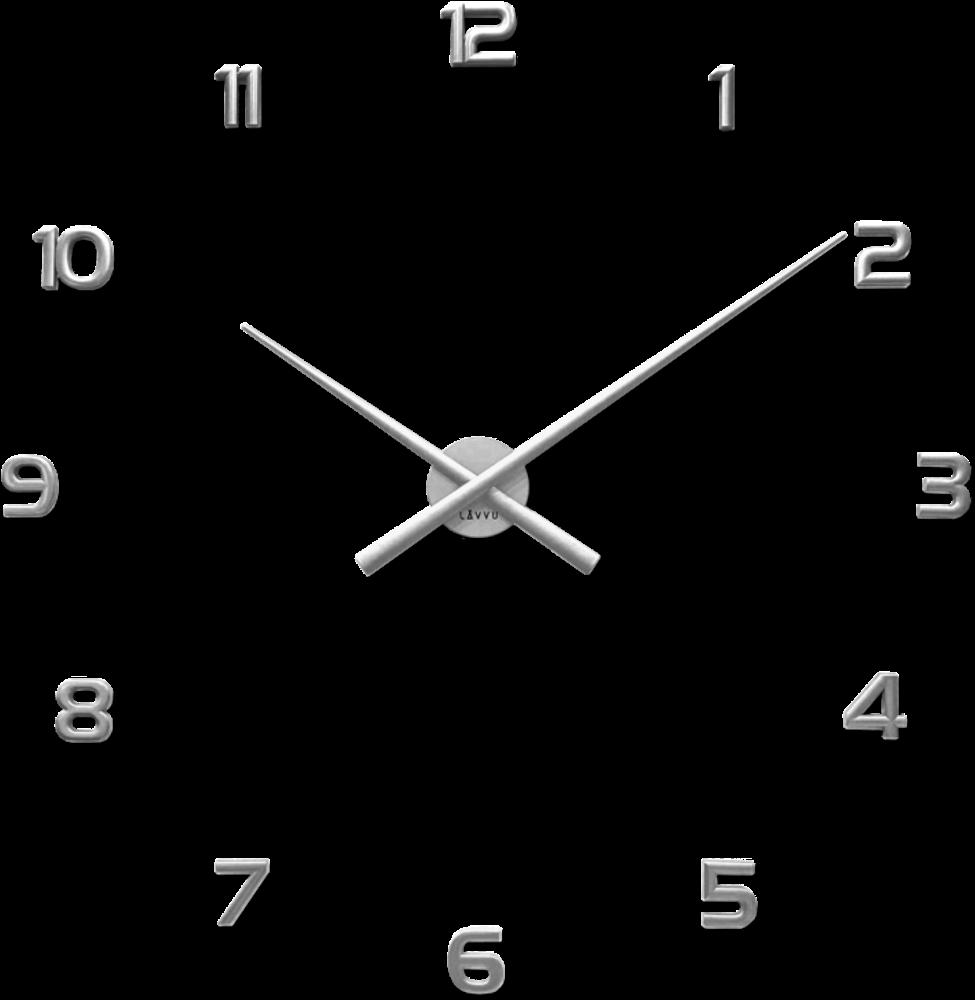 LAVVU Stříbrné nalepovací hodiny LAVVU 3D STICKER Silver Numerals LCT1171