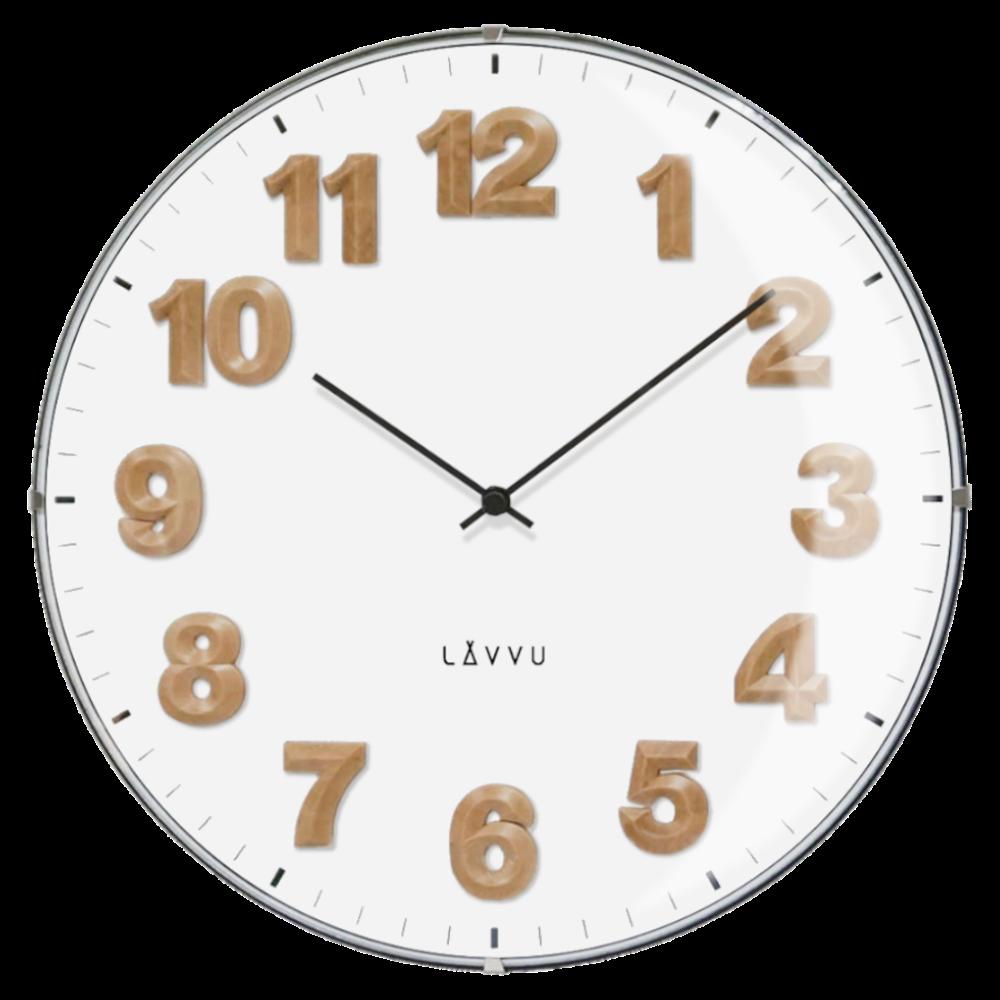 Bílé hodiny s dřevěnými čísly LAVVU HARMONY