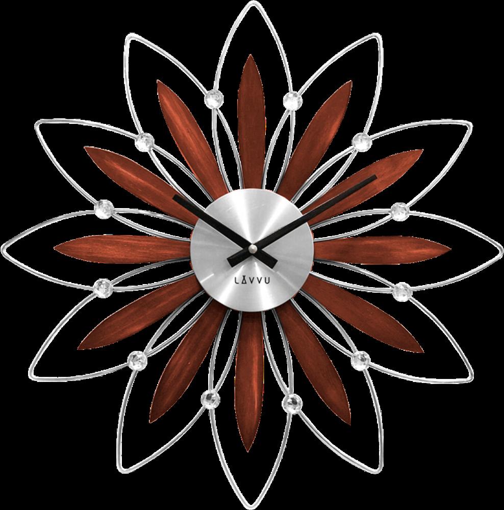 LAVVU Dřevěné stříbrné hodiny LAVVU CRYSTAL Flower LCT1111