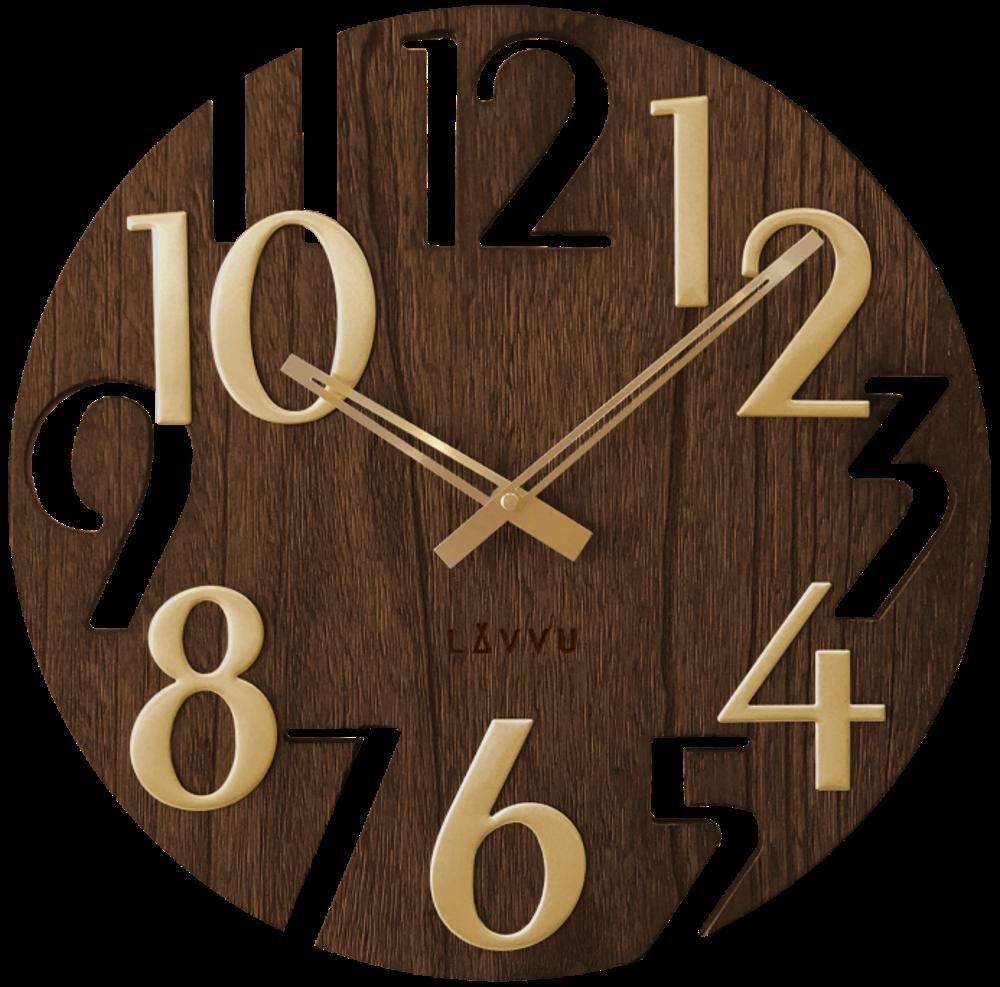 LAVVU Hnědé dřevěné hodiny LAVVU STYLE Brown Wood LCT1011