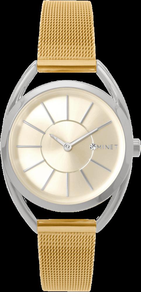 Stříbrno-zlaté dámské hodinky MINET ICON BICOLOR MESH