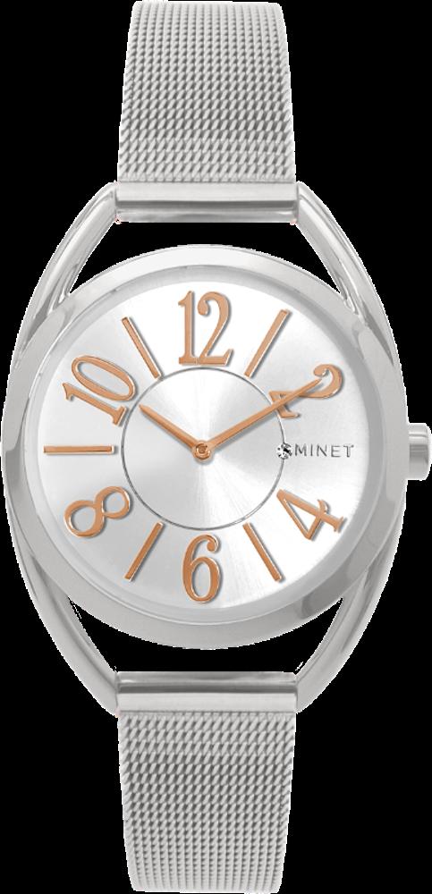 Stříbrné dámské hodinky s čísly MINET ICON SILVER MESH