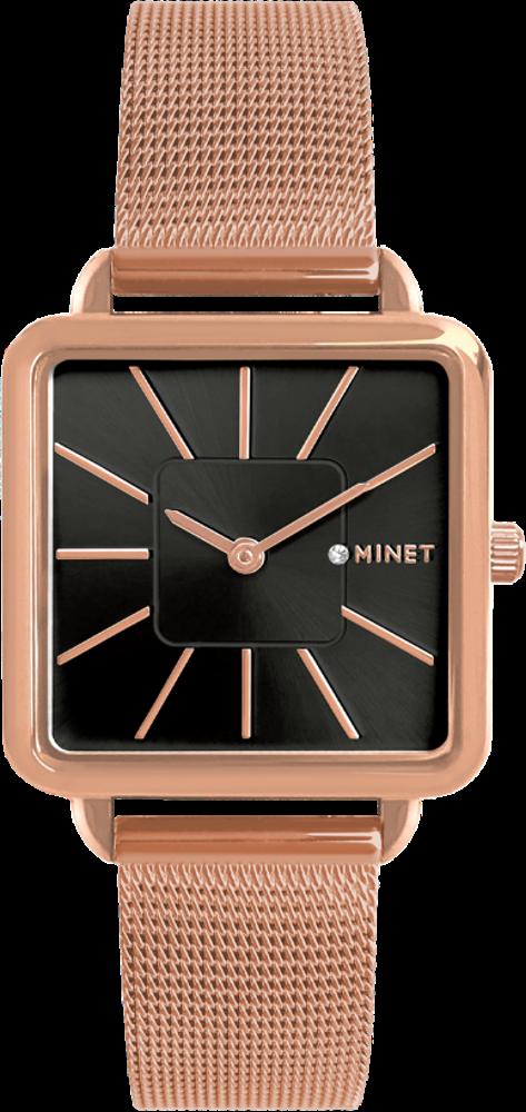 Rose gold dámské hodinky MINET OXFORD BLACK ROSE