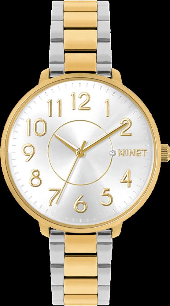 Stříbrno-zlaté dámské hodinky MINET PRAGUE Silver & Gold