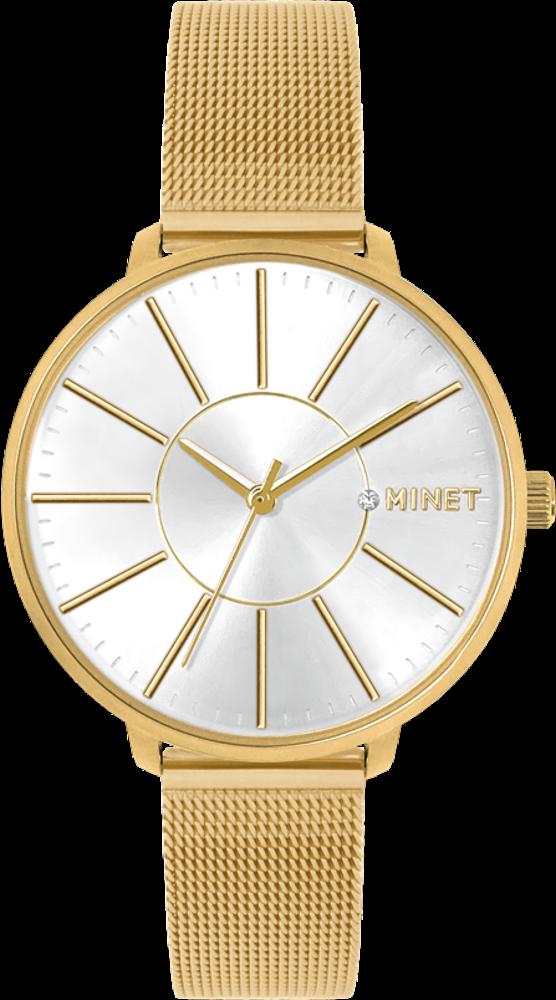 Zlaté dámské hodinky MINET PRAGUE Pure Gold MESH