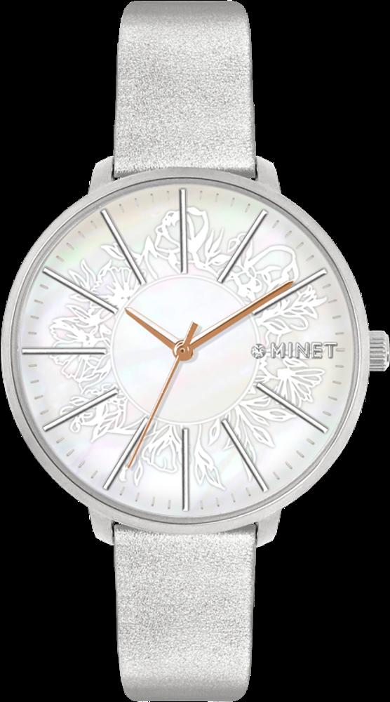 MINET Stříbrné dámské hodinky MINET PRAGUE Silver Flower MWL5140