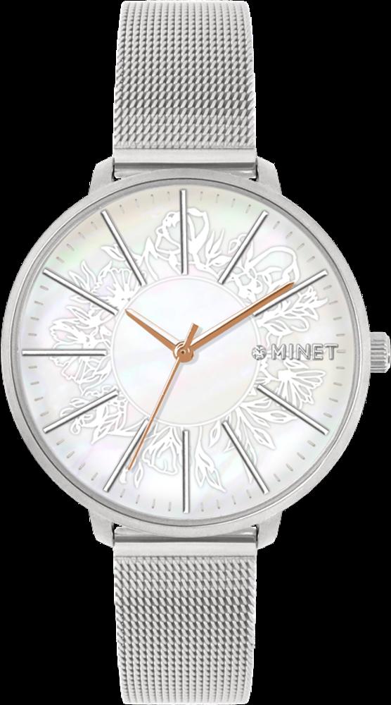 Stříbrné dámské hodinky MINET PRAGUE Silver Flower Mesh