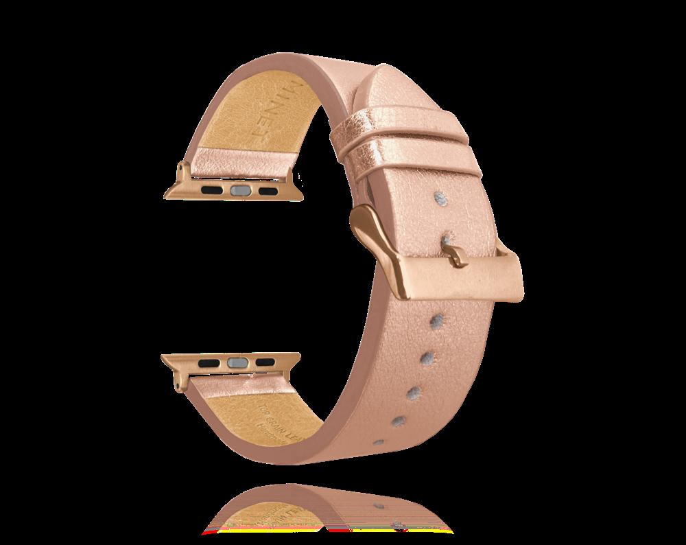 Rose gold kožený řemínek MINET Top Grain pro APPLE WATCH 42-44 mm