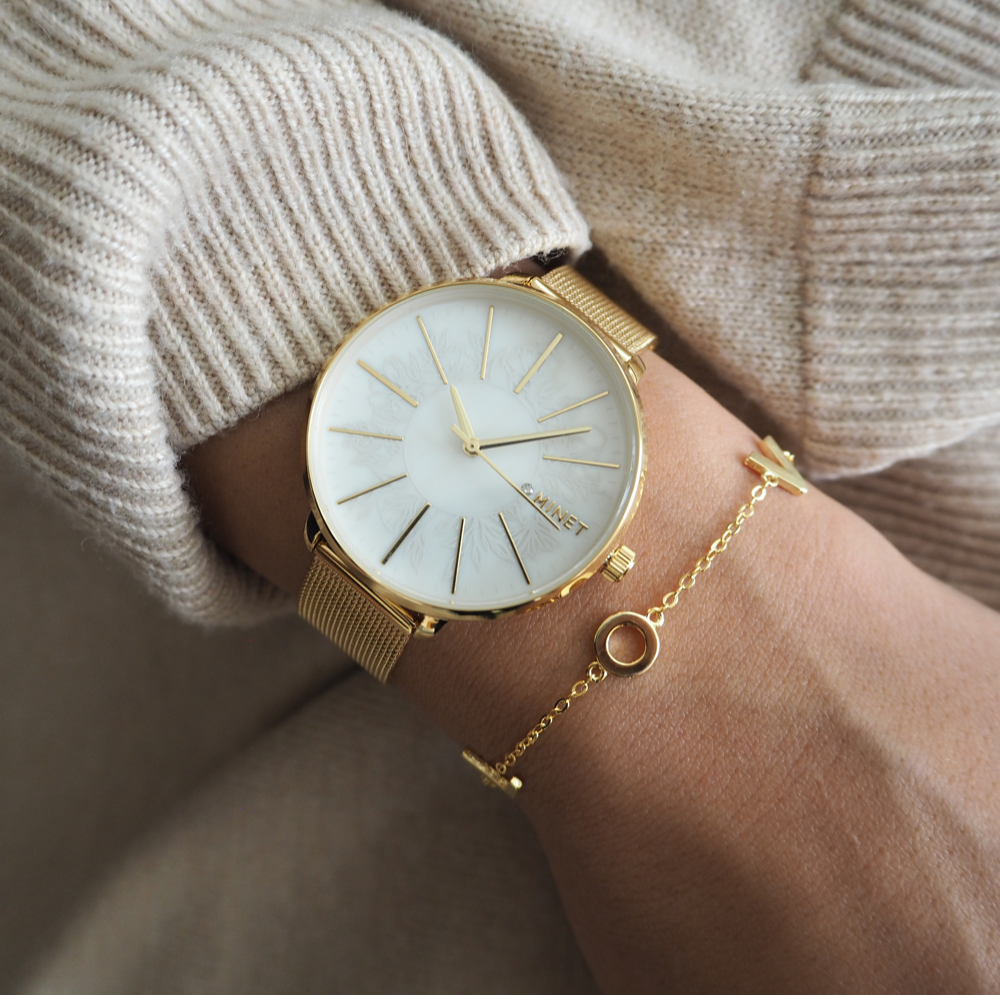 Zlaté dámské hodinky MINET PRAGUE Gold Flower Mesh