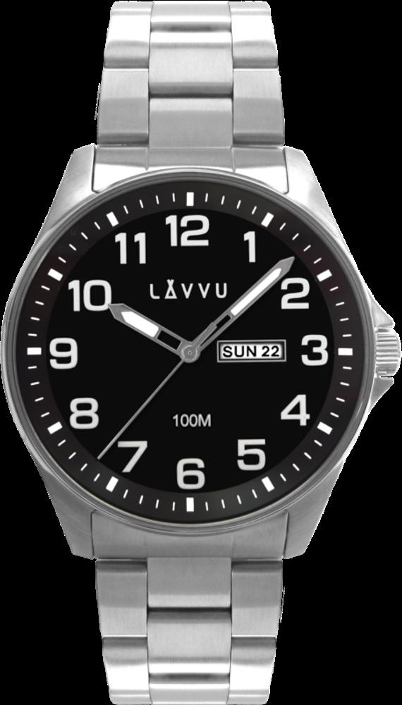 LAVVU Ocelové pánské hodinky LAVVU BERGEN Black se svítícími čísly LWM0142