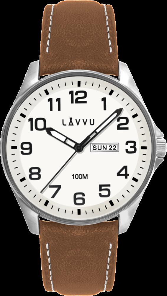 Ocelové pánské hodinky LAVVU BERGEN White / Top Grain Leather se svítícím číselníkem