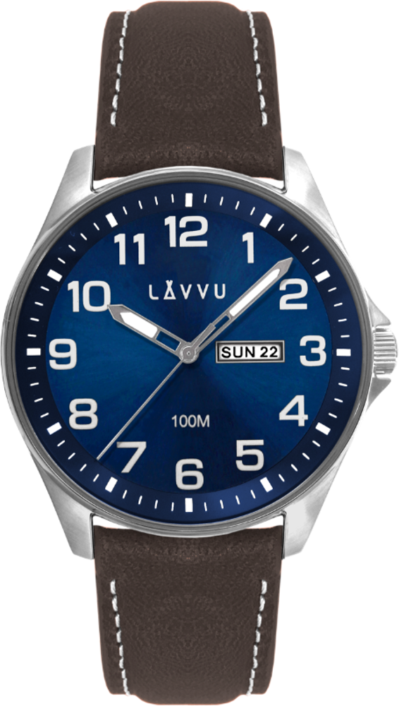 Ocelové pánské hodinky LAVVU BERGEN Blue / Top Grain Leather se svítícími čísly