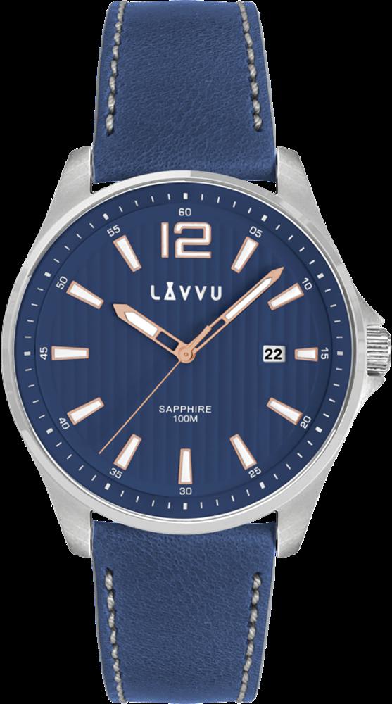Pánské hodinky se safírovým sklem LAVVU NORDKAPP Blue / Top Grain Leather