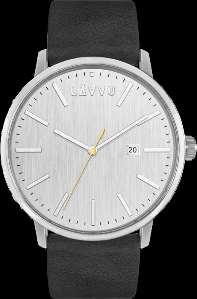 LAVVU Stříbrno-černé pánské hodinky LAVVU COPENHAGEN LWM0170
