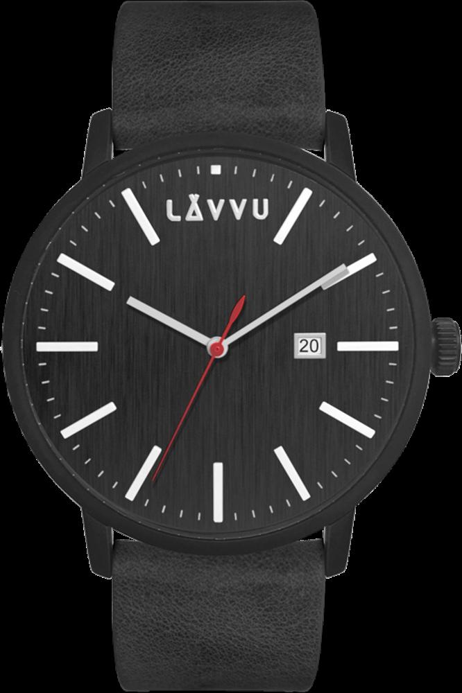 LAVVU Černé pánské hodinky LAVVU COPENHAGEN RAVEN BLACK LWM0175