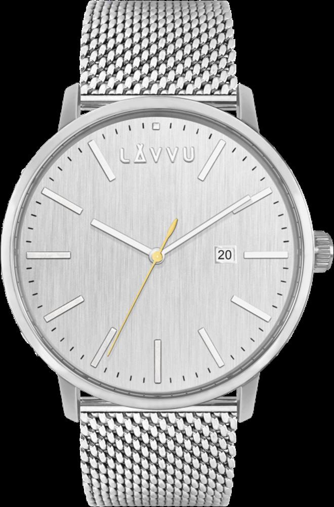 LAVVU Stříbrné pánské hodinky LAVVU COPENHAGEN MESH LWM0177