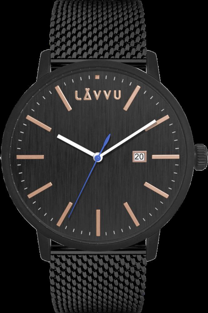 LAVVU Černé pánské hodinky LAVVU COPENHAGEN MESH LWM0179