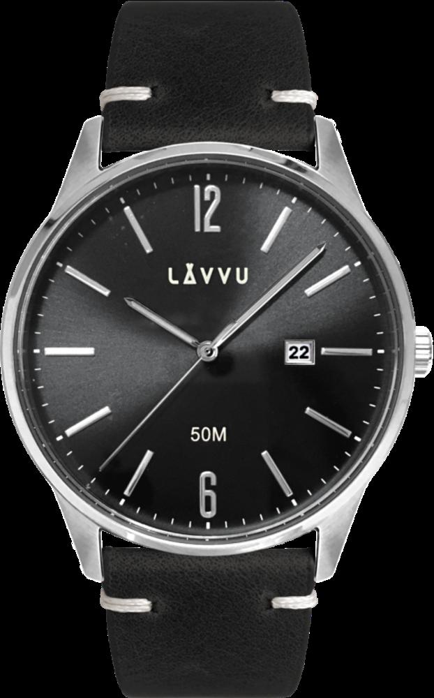 LAVVU Elegantní pánské hodinky LAVVU KARLSTAD Black / Top Grain Leather LWM0085