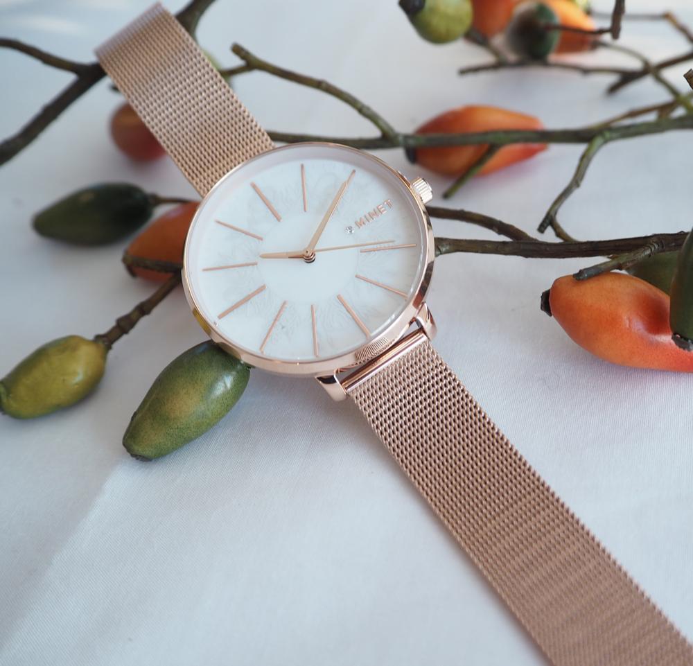 Rose gold dámské hodinky MINET PRAGUE Rose Flower Mesh