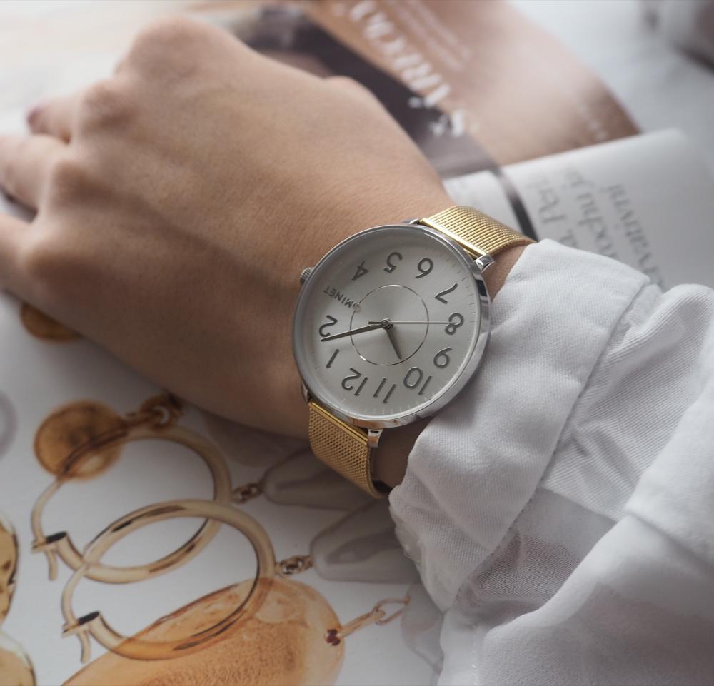 Stříbrno-zlaté dámské hodinky MINET PRAGUE Silver & Gold Bicolor MESH s čísly
