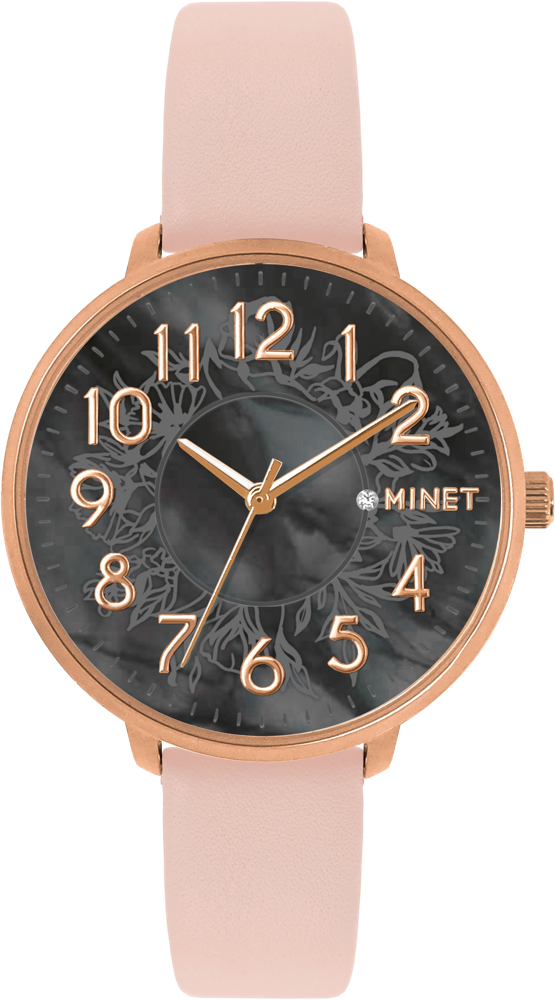 MINET Rose gold dámské hodinky MINET PRAGUE Black Flower s čísly MWL5163