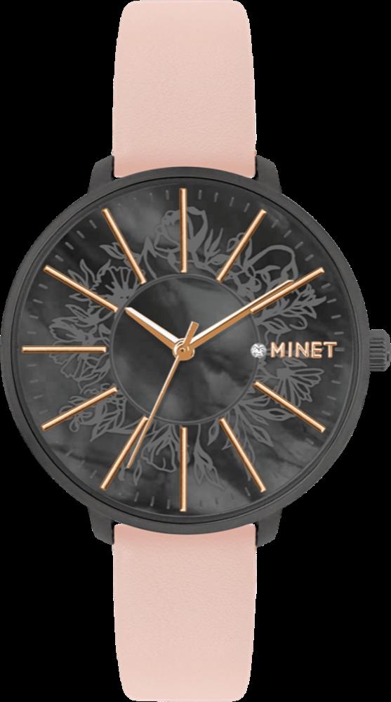 Růžové dámské hodinky MINET PRAGUE Black Flower