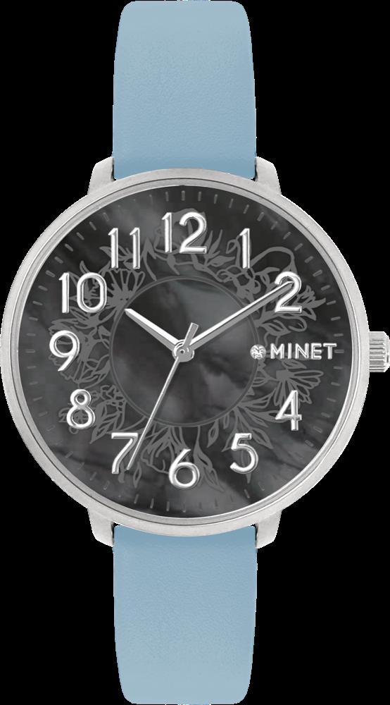 MINET Modré dámské hodinky MINET PRAGUE Black Flower s čísly