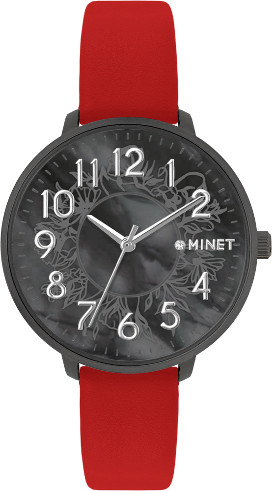 MINET Červené dámské hodinky MINET PRAGUE Black Flower s čísly MWL5169