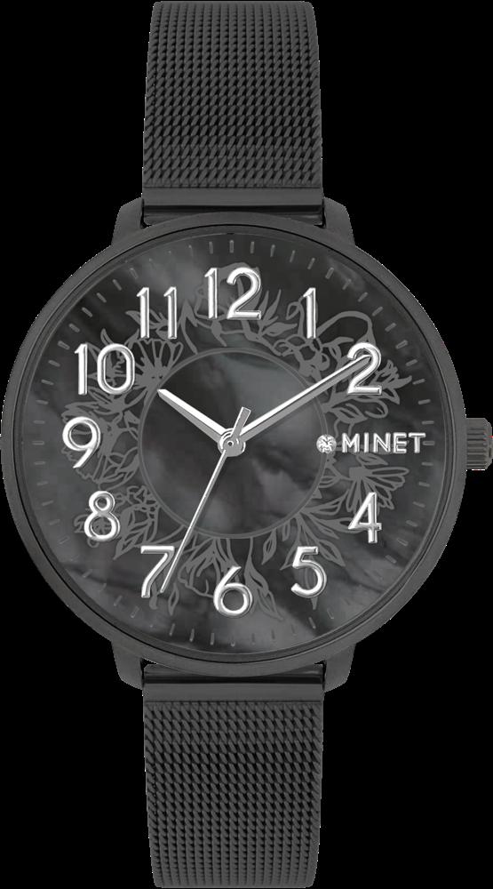 MINET Černé dámské hodinky MINET PRAGUE Black Flower MESH s čísly