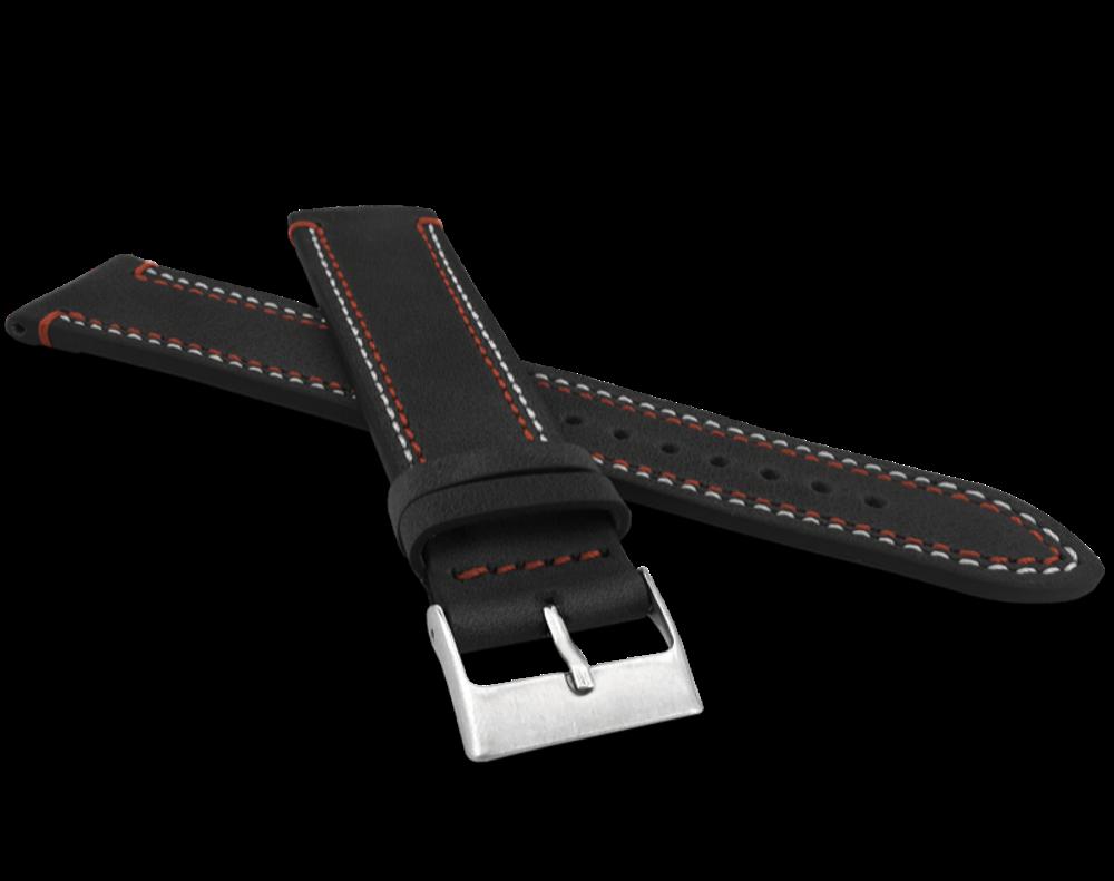 LAVVU Dvojitě prošitý černý řemínek LAVVU SPORT z luxusní kůže Top Grain - 22 LSDUB22