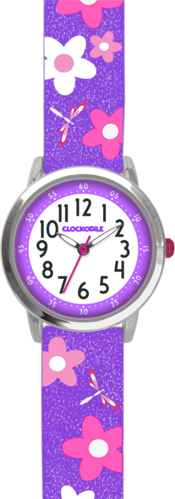 CLOCKODILE Květované fialové dívčí dětské hodinky CLOCKODILE FLOWERS se třpytkami CWG5021