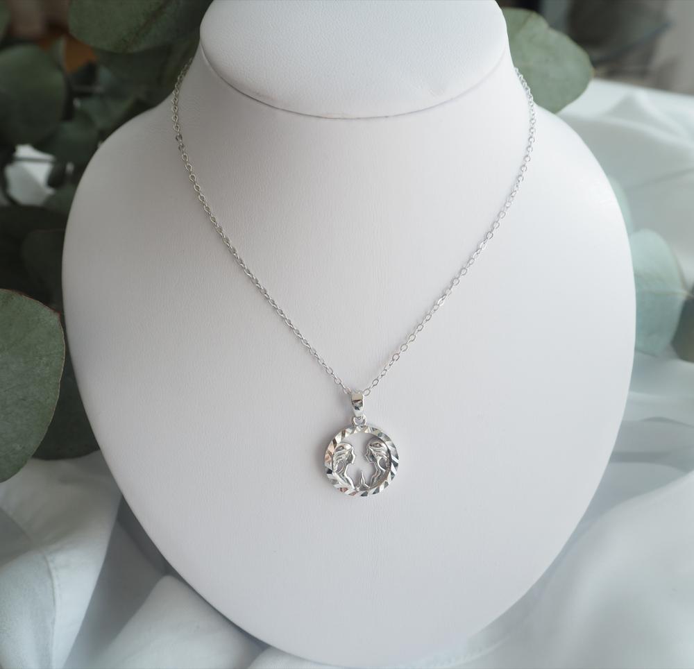 Stříbrný náhrdelník MINET Zodiac znamení BLÍŽENCI