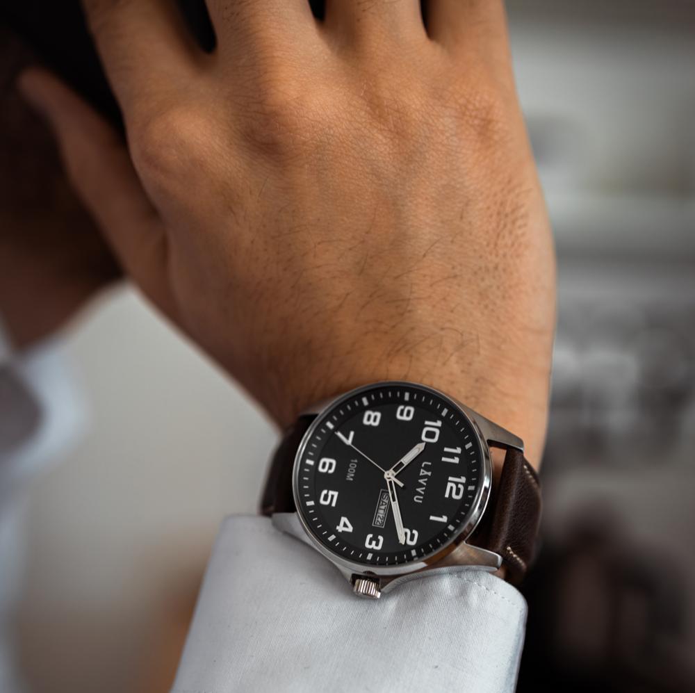 Ocelové pánské hodinky LAVVU BERGEN Black / Top Grain Leather se svítícími čísly
