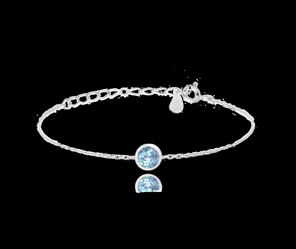 MINET Decentní stříbrný náramek MINET se světle modrým zirkonem JMAS0096AB16