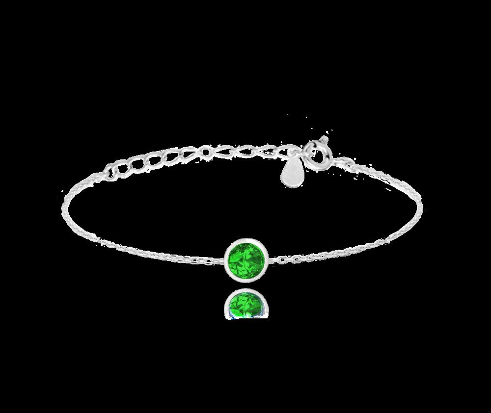 MINET Decentní stříbrný náramek MINET se zeleným zirkonem JMAS0096ZB16