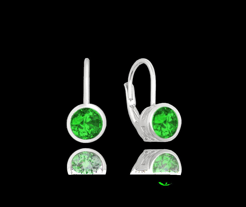 MINET Decentní stříbrné náušnice MINET se zelenými zirkony JMAS0096ZE00