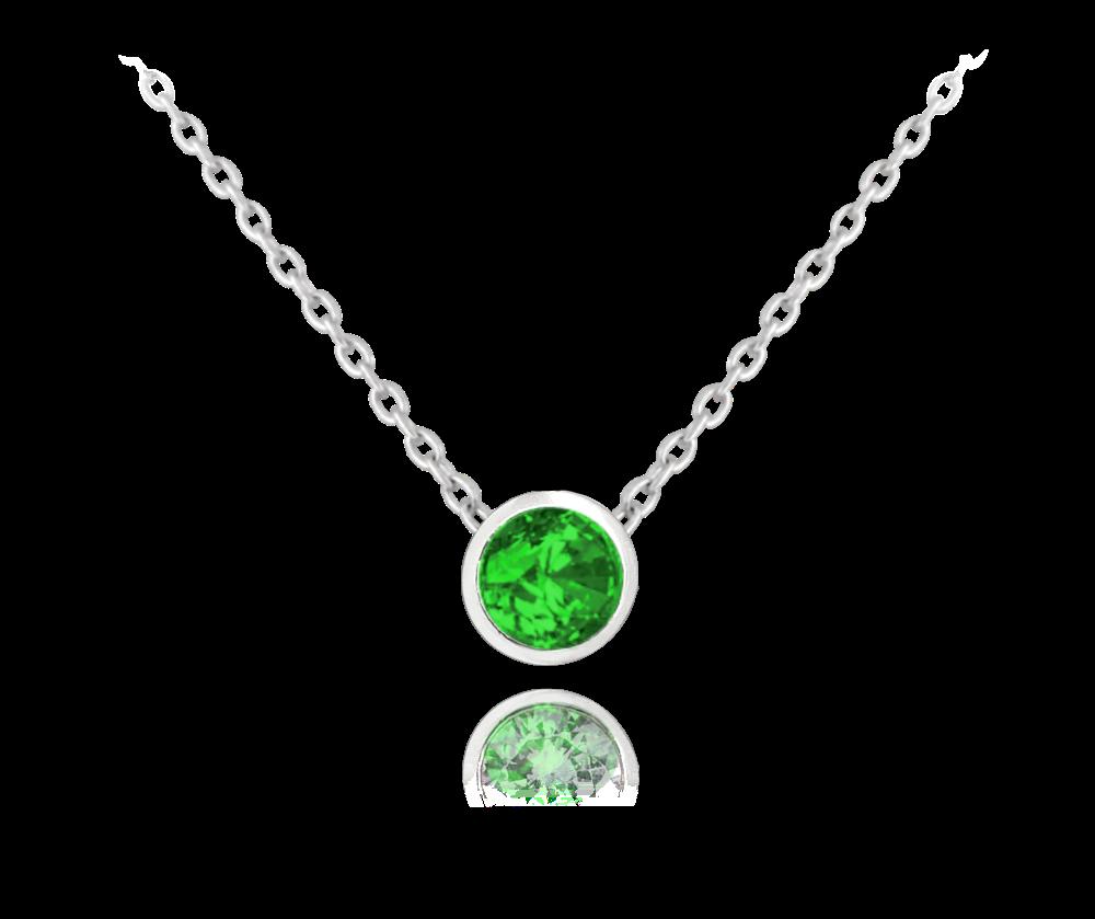 MINET Decentní stříbrný náhrdelník MINET se zeleným zirkonem JMAS0096ZN45