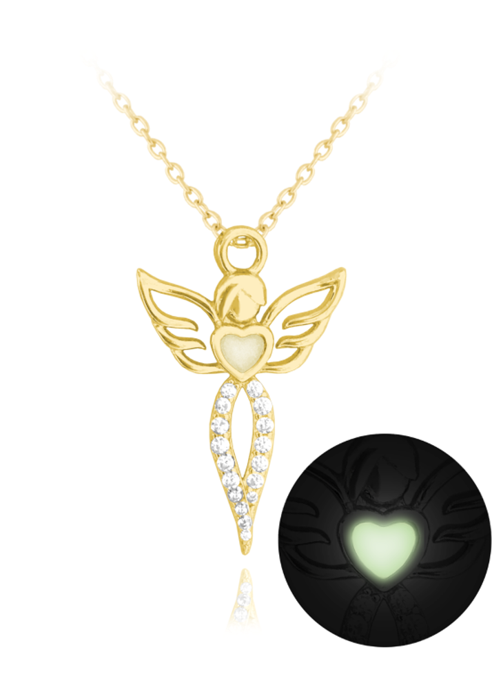 MINET Svítící pozlacený stříbrný náhrdelník MINET ANDĚL s bílými zirkony JMAN0157GN45
