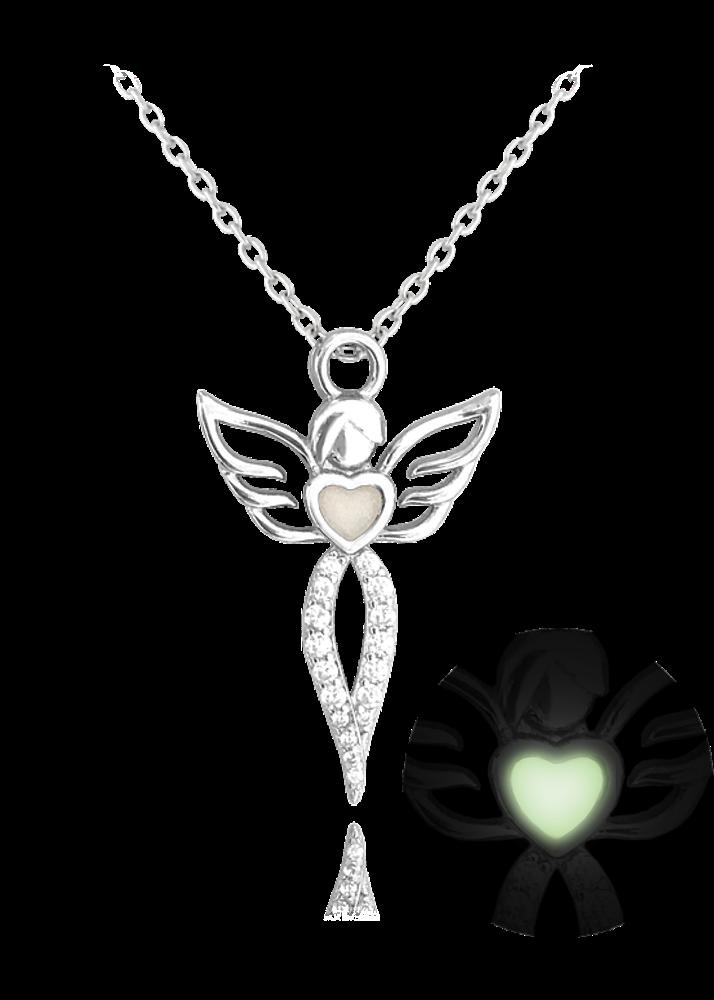 MINET Svítící stříbrný náhrdelník MINET ANDĚL s bílými zirkony JMAN0157SN45