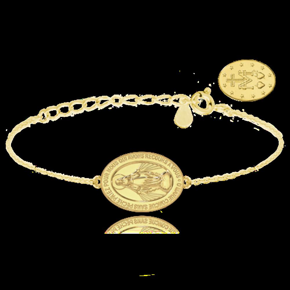 MINET Pozlacený stříbrný náramek MINET Zázračná medaile | Medailka Neposkvrněného Početí JMAS0115GB16