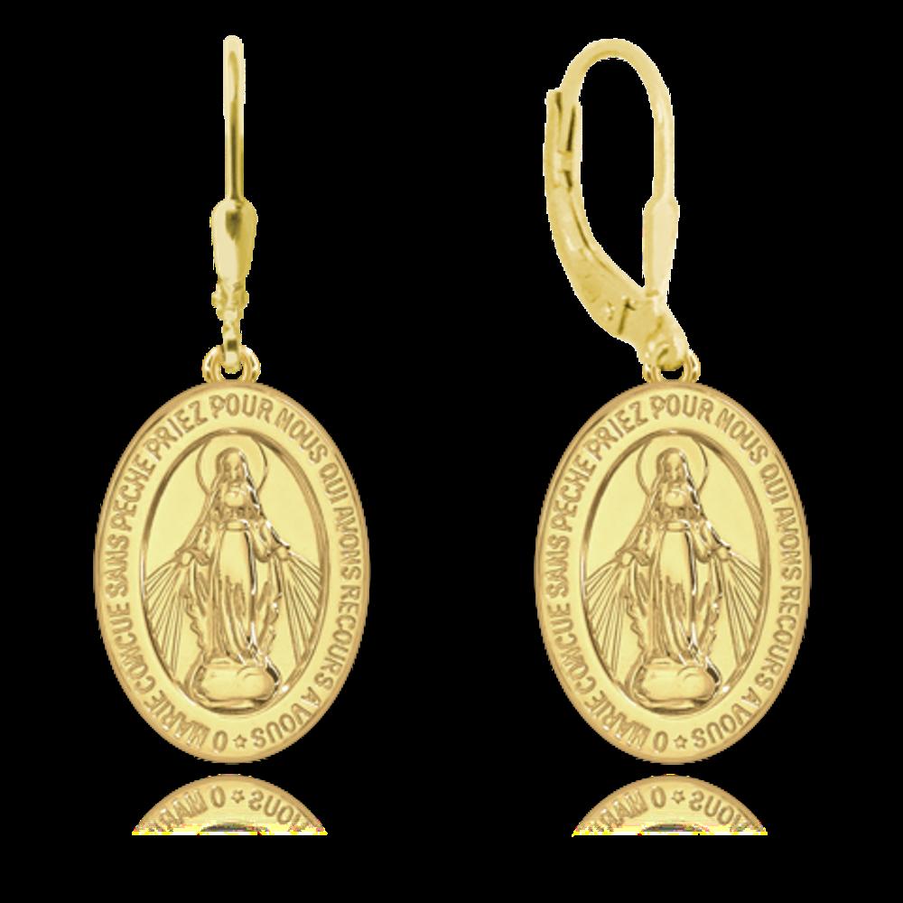 MINET Pozlacené stříbrné náušnice MINET Zázračná medaile | Medailka Neposkvrněného Početí