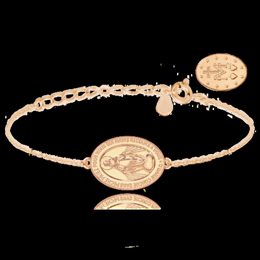 MINET Rose gold stříbrný náramek MINET Zázračná medaile | Medailka Neposkvrněného Početí JMAS0115RB16