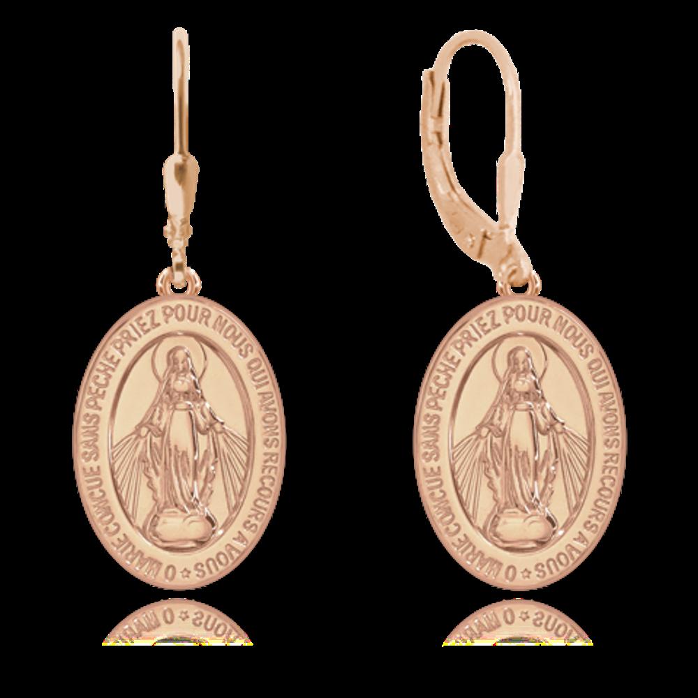 MINET Rose gold stříbrné náušnice MINET Zázračná medaile | Medailka Neposkvrněného Početí