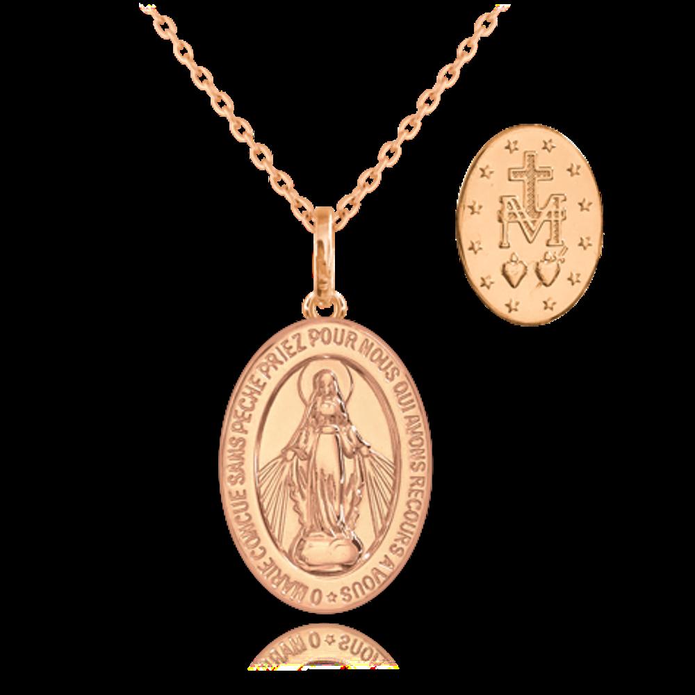 MINET Rose gold stříbrný náhrdelník MINET Zázračná medaile   Medailka Neposkvrněného Početí