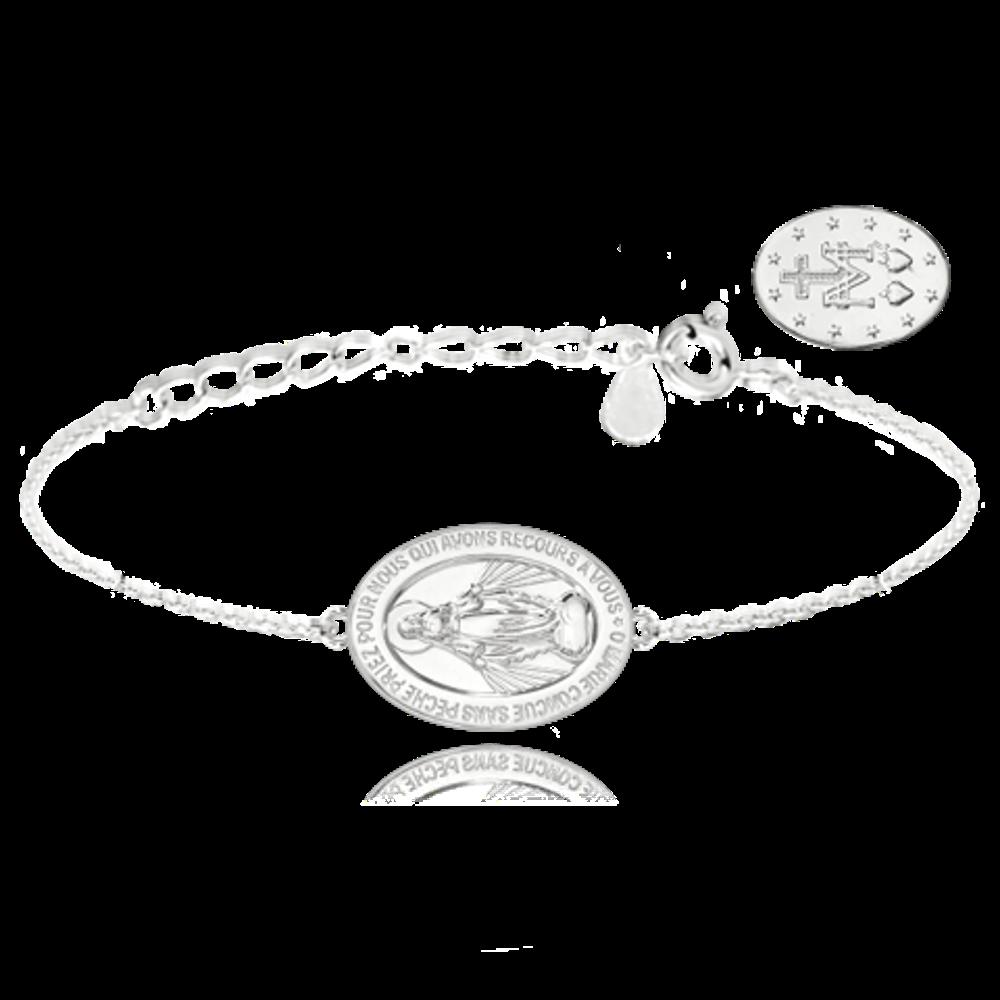 MINET Stříbrný náramek MINET Zázračná medaile | Medailka Neposkvrněného Početí JMAS0115SB16