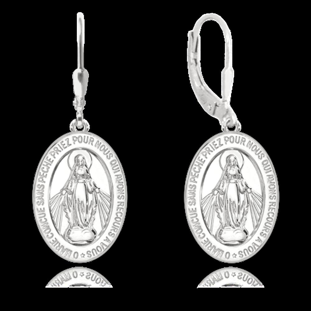 MINET Stříbrné náušnice MINET Zázračná medaile | Medailka Neposkvrněného Početí