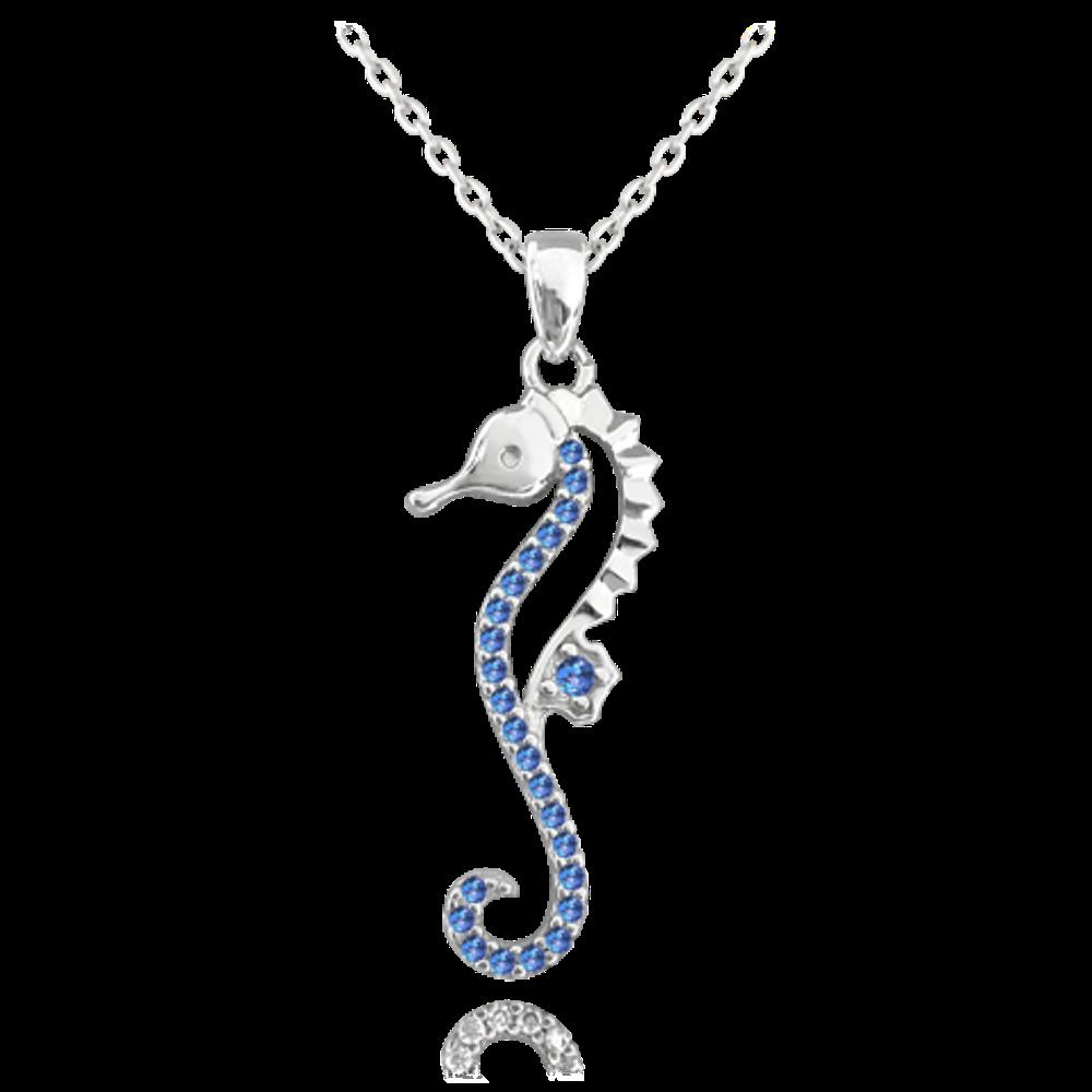 MINET Stříbrný náhrdelník MINET MOŘSKÝ KONÍK s tmavě modrými zirkony